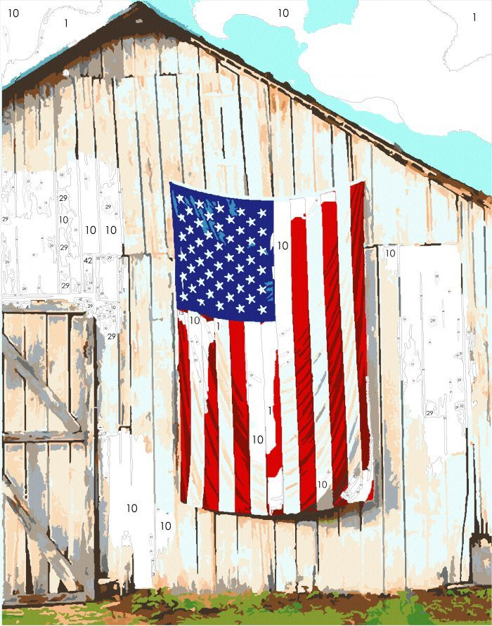 Country Living Kit: American Flag & Barn | Easy 123 Art