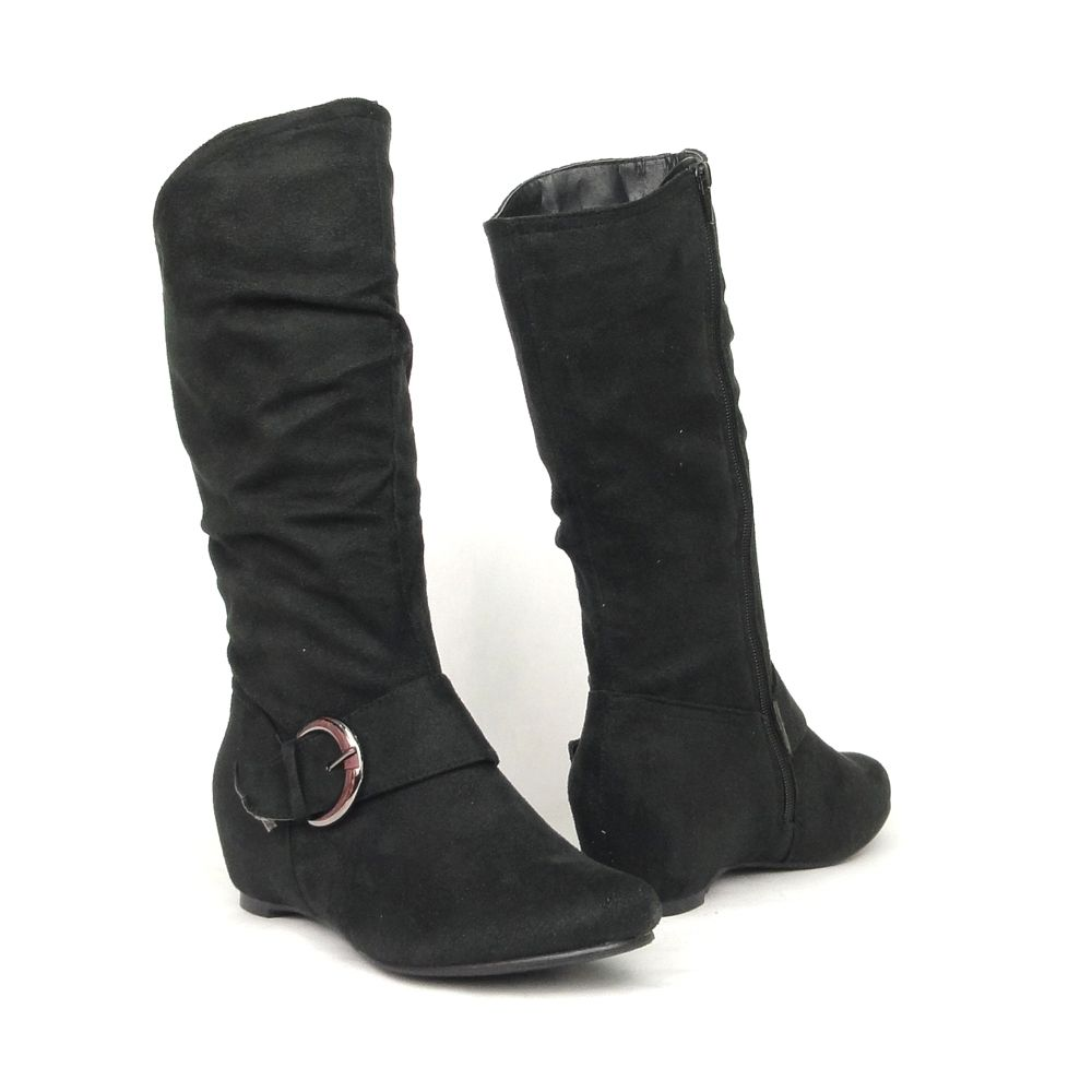 0e742f46363 Womens  Faux Suede Ruched Knee High Hidden Wedge Boots Black fashion style  outfit