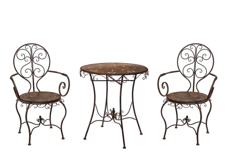 Metall Bistro Set Garten Shabby Klappstühle Braun Terrase Tisch Sitzgruppe Möbel