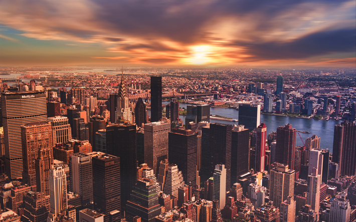 Download Wallpapers 4k New York Sunset Panorama Modern Buildings Nyc Usa America Besthqwallpapers Com City Wallpaper Sustainable City Romantic Places