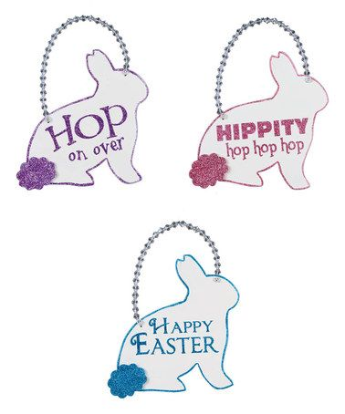 Look what I found on #zulily! Bunny Hoppin Sign Set #zulilyfinds