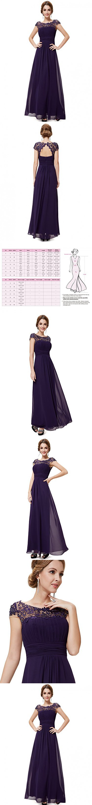 Ever pretty womens lace neckline open back ruched long evening gown