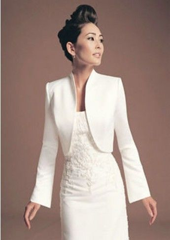 Full Length Ivory Satin Wedding Jackets Bridal Boleros 107014 Hochzeit Jacke Outfit Hochzeit Brautjacke