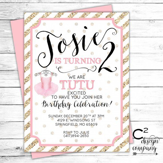 Tutu Cute Birthday Party Invitation In 2019 Products Baby Shower