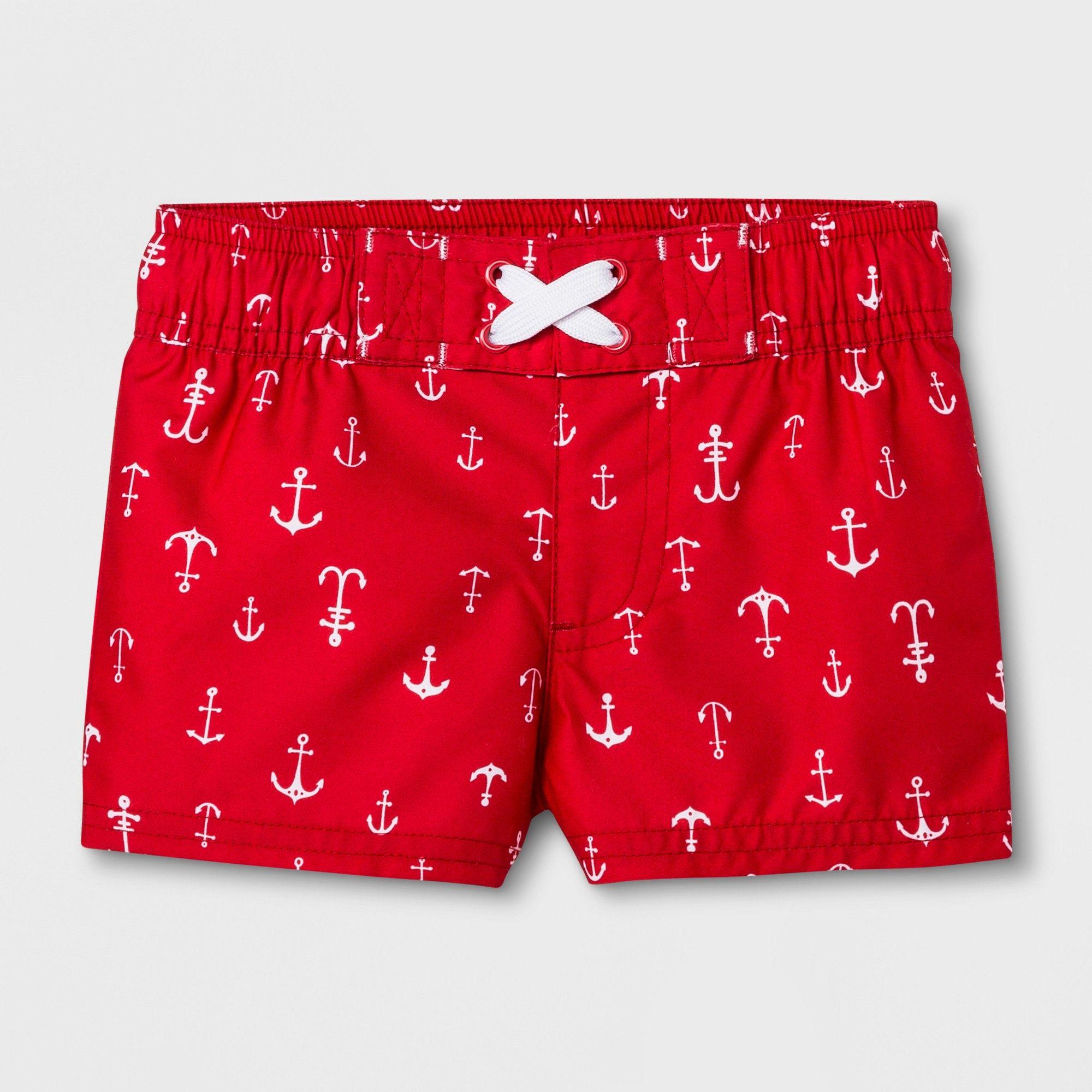 9954e85698 Baby Boys' Anchor Swim Trunks - Cat & Jack Red 12-18M in 2019 ...