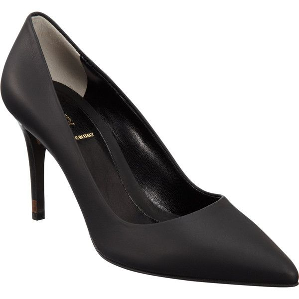 Fendi Pointed Toe Pump (5 845 ZAR) ❤ liked on Polyvore featuring shoes, pumps, heels, black, pointed-toe pumps, leather pumps, leather sole shoes, black leather pumps and pointy-toe pumps