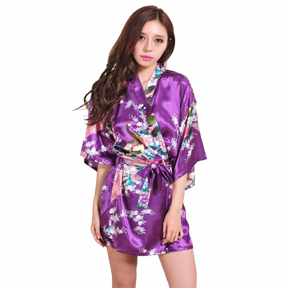 Brand Purple Female Printed Floral Kimono Dress Gown Chinese Style ...
