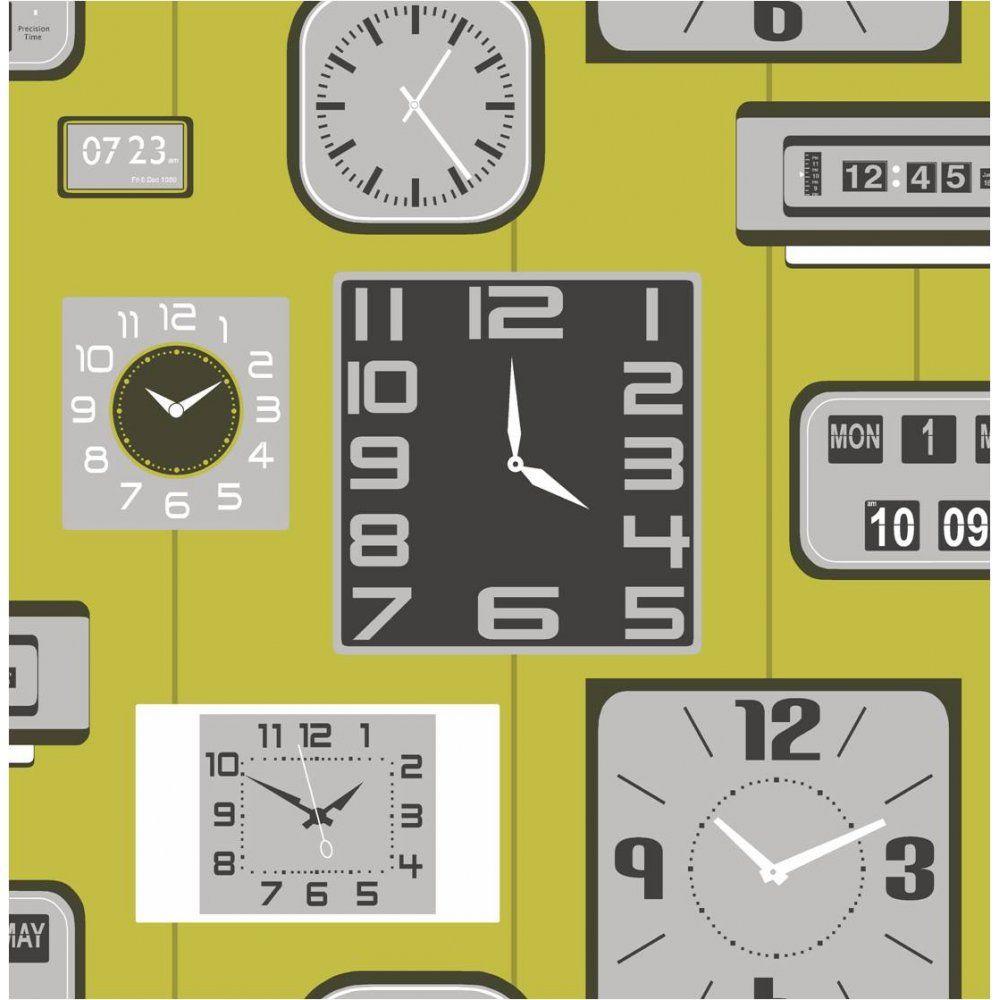 Buy Fine Decor Klox Retro Clock Wallpaper Lime Green Black Grey