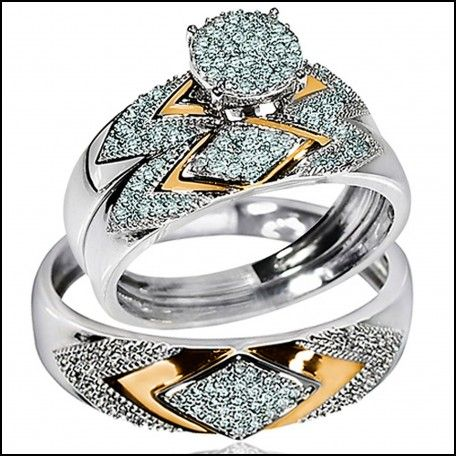 Mens And Womens Wedding Rings White And Yellow Gold Two Tone Trio Set Real  Diamonds Bridal Trio Set Round Top Cluster Mens Ring Measures Approx And  Womens ...