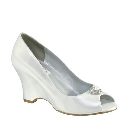 23180caac9ef Dyeable  Peeptoe  Wedge Minka-19011 by Touch Ups and Dyables - Minka  Material  Satin Color  White Dyeable  Yes Height  2.5