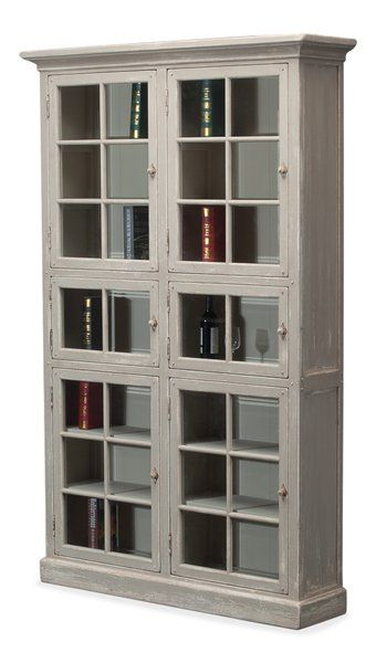Glass Doors Bookcase Reclaimed Pine Antique Gray Wash New Free Ship