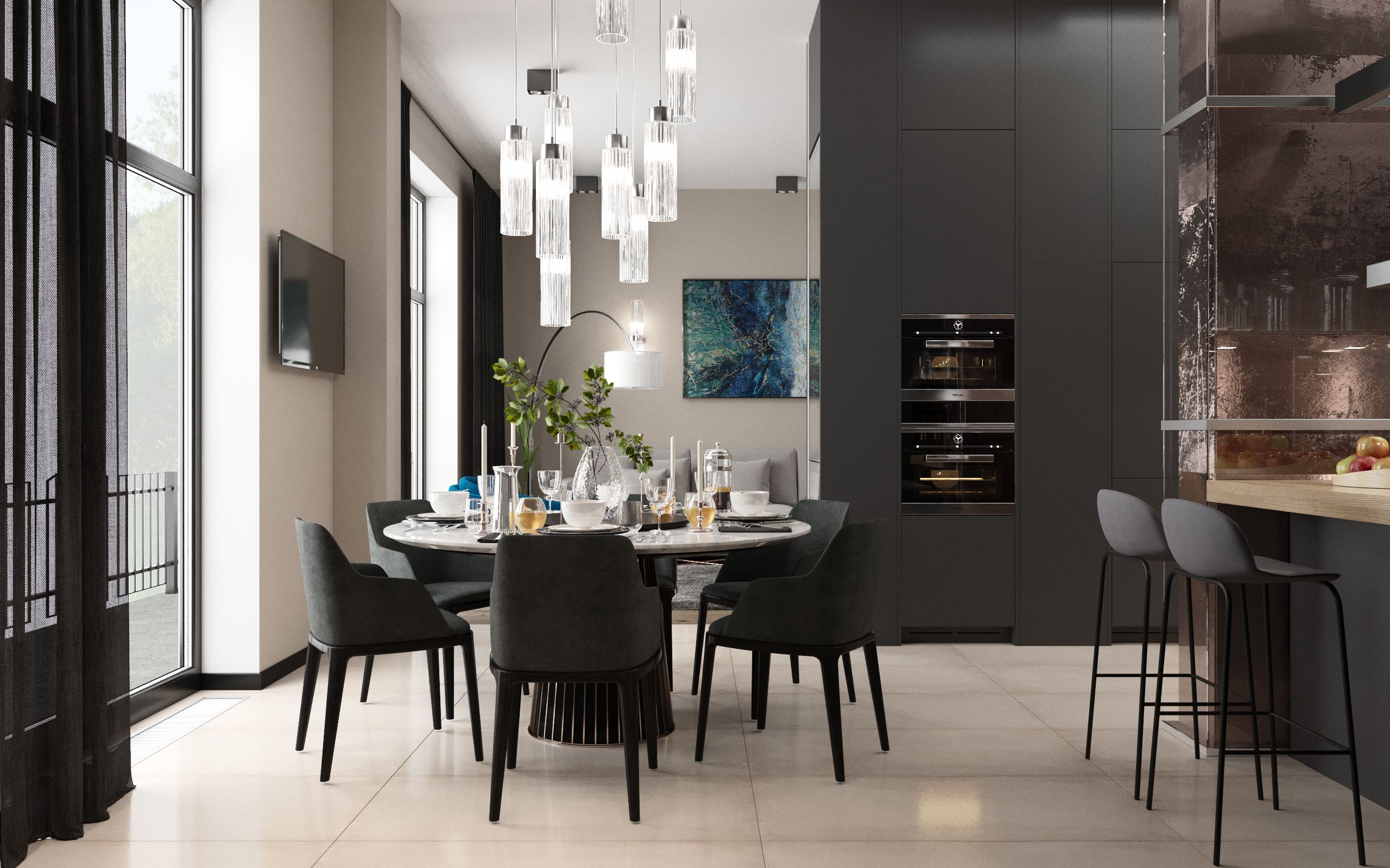 Presentation of a stylish apartment design project in video format