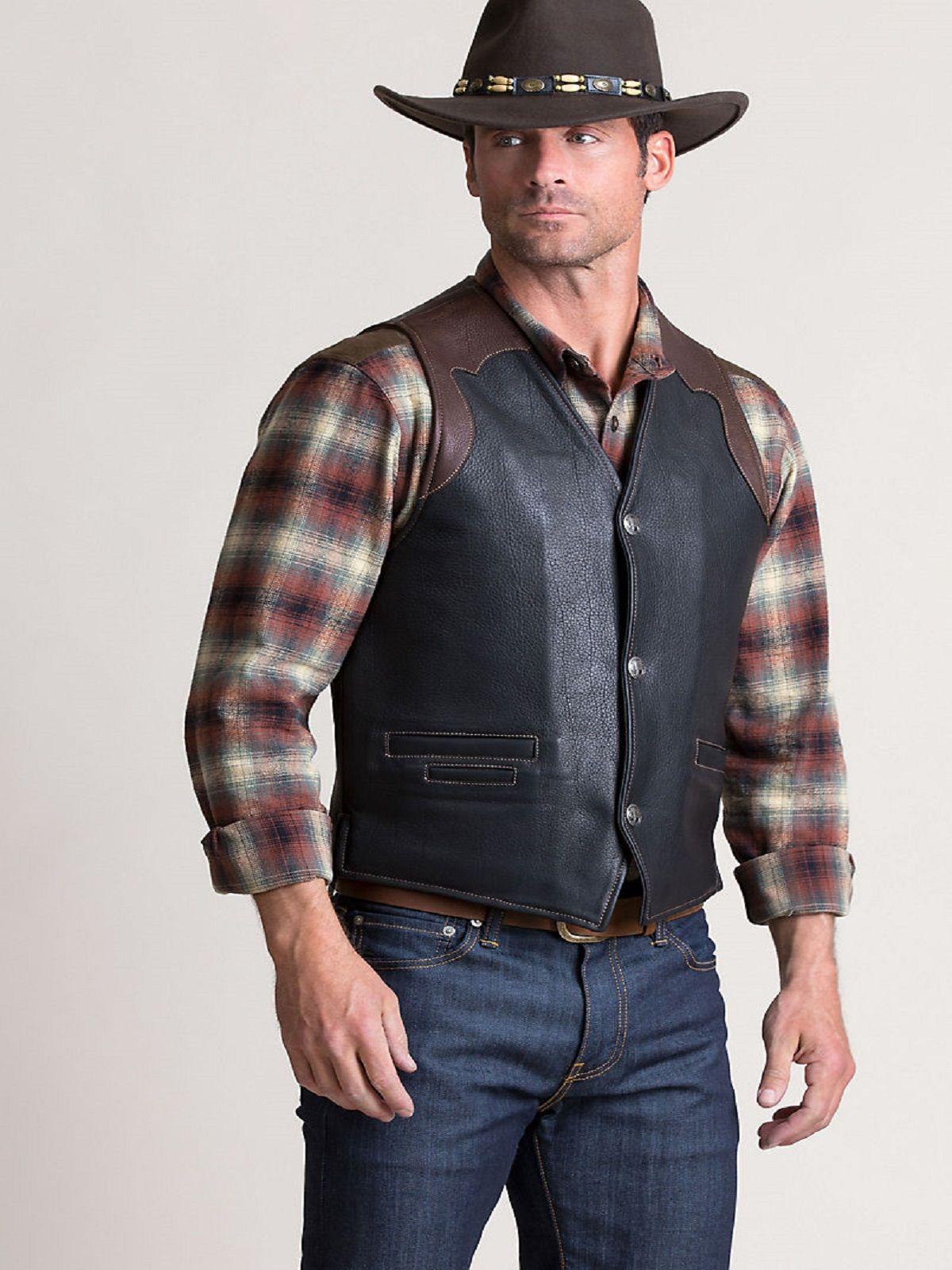 Cowboy Men Leather Vest Men Jacket Mauvetree Mens Leather Vest Leather Vest Bison Leather [ 1600 x 1200 Pixel ]