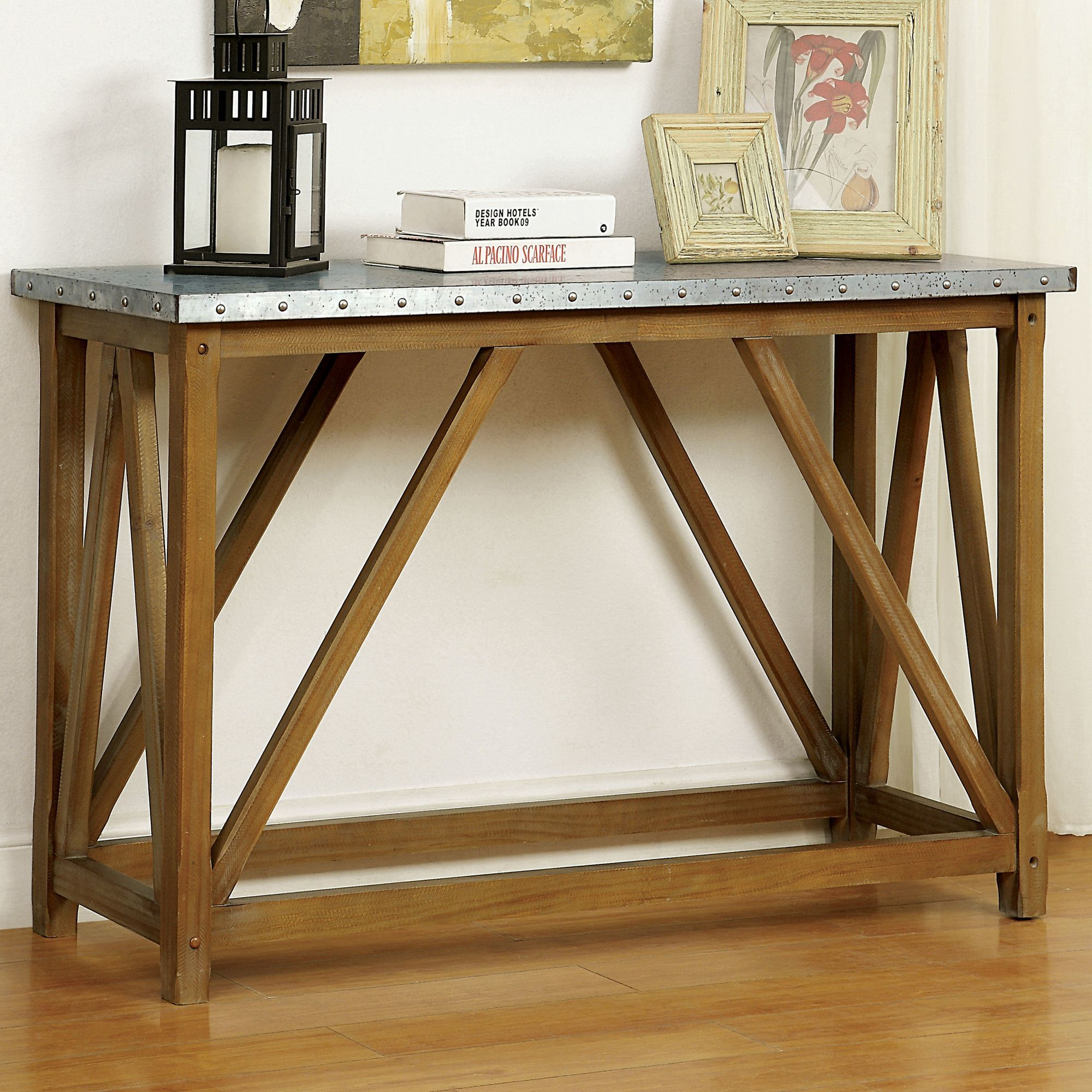 Features Industrial Style Galvanized Iron Table Top Nailhead Trim Natural Tone Finish