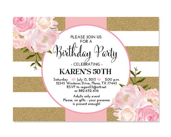 Pink gold glitter bridal shower invitation stripes floral pink pink gold glitter bridal shower invitation stripes floral pink peonies bridal brunch bridal tea birthday party invitation any event convites stopboris Images