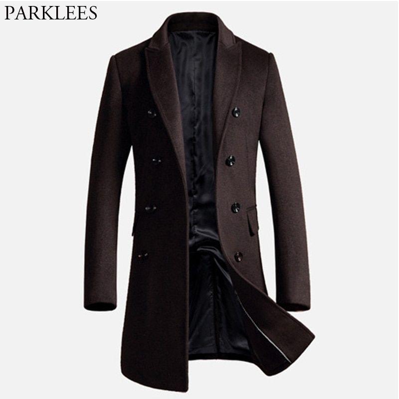 Mens long trench coat 2017 winter men wool coat slim fit