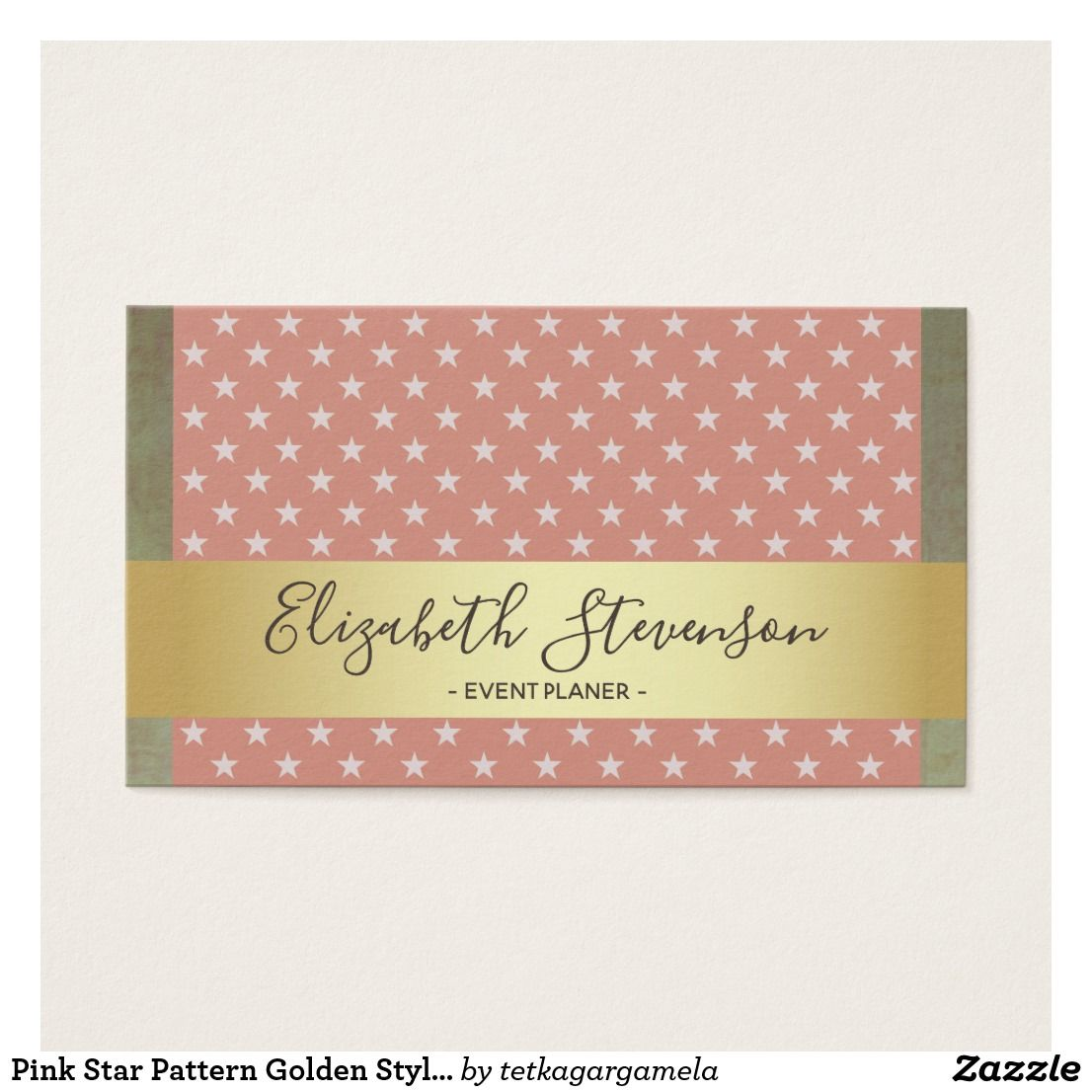 Pink Star Pattern Golden Stylish Modern Urban Chic Business Card ...