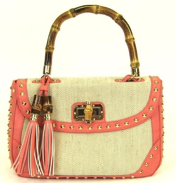 Galian Handbag C Bamboo Handle Studded With Fringe Tote Bag
