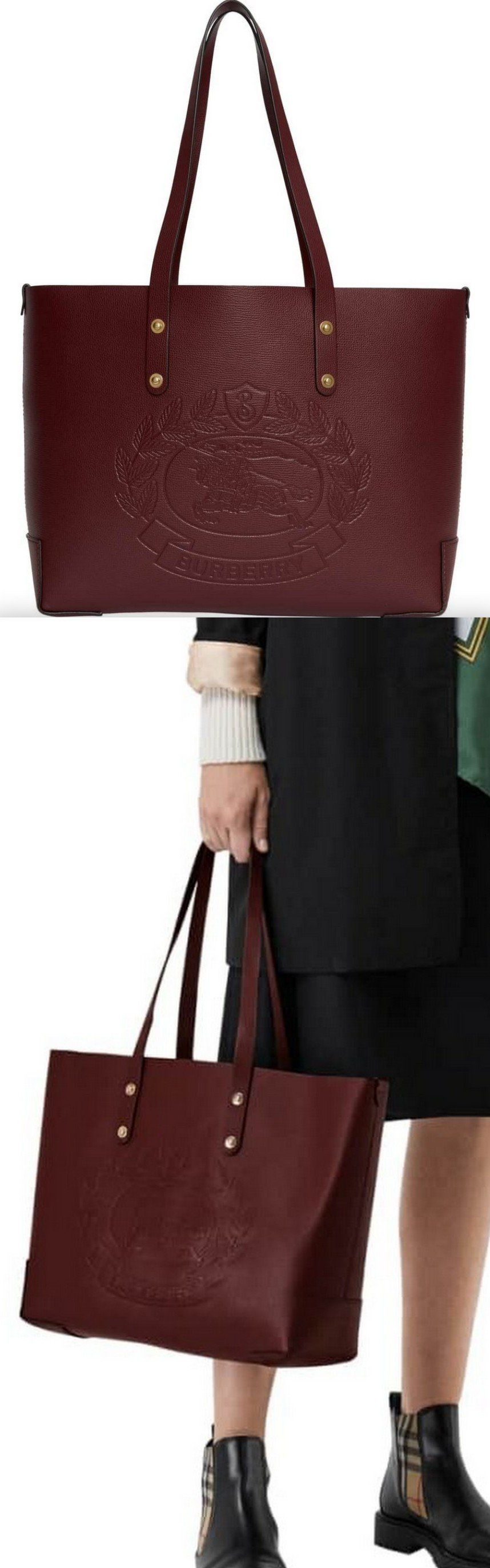 7fa494216f Embossed Crest Small Leather Tote