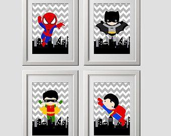 Superhero Wall Decor superhero bedroom wall decor prints 8x10 inch each, shipped to