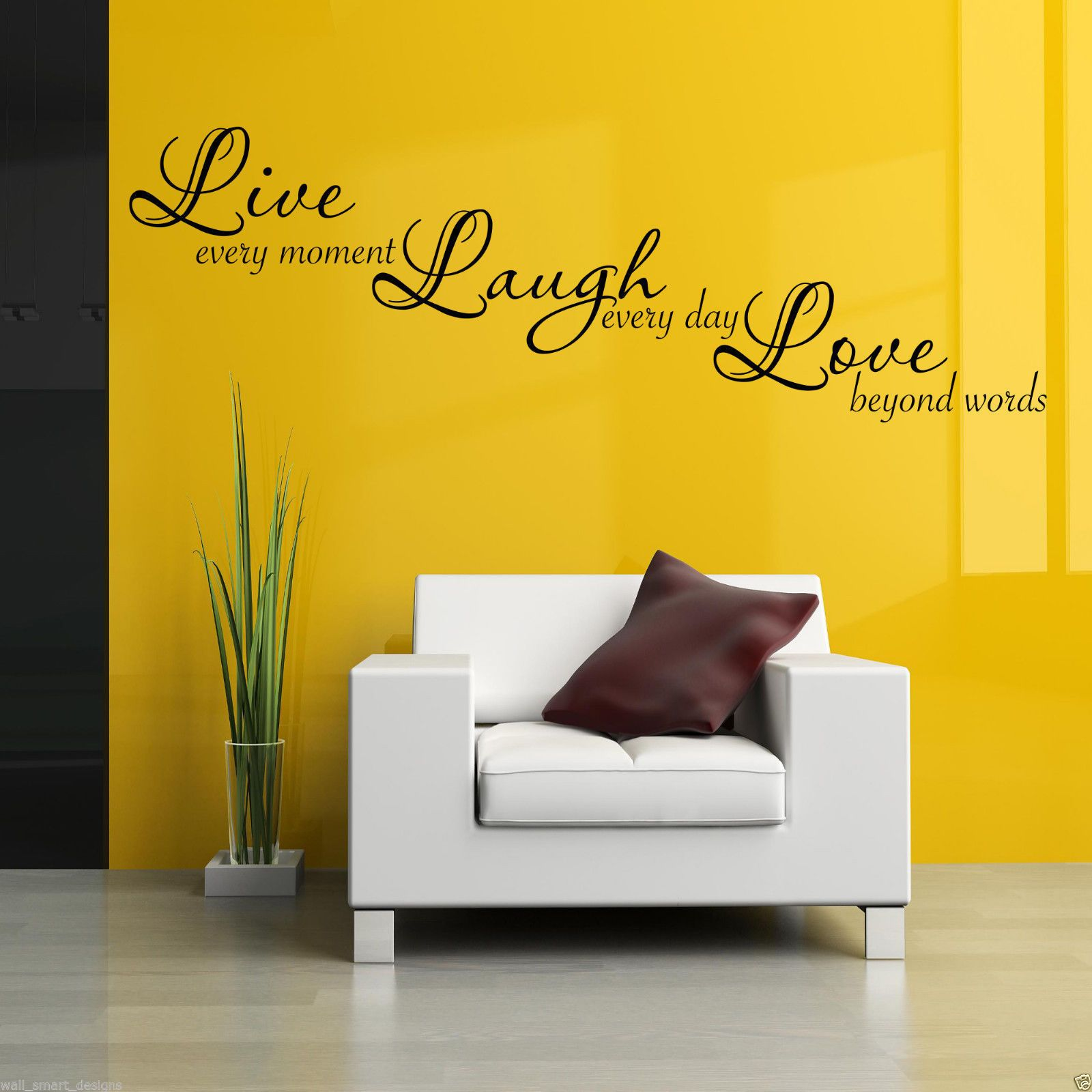 Live Laugh Love Wall Art Sticker Lounge Quote Decal Mural Stencil ...