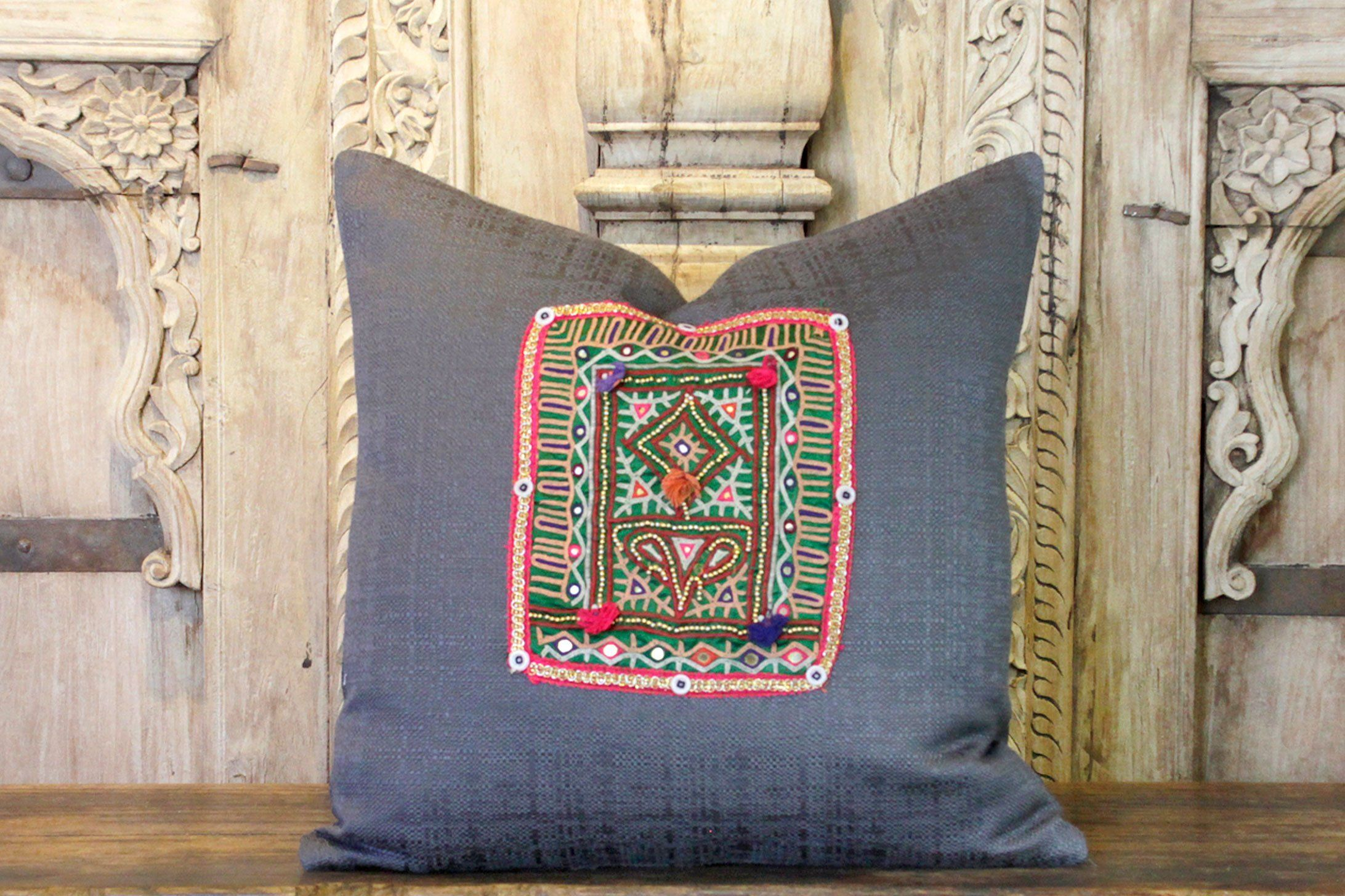Dashiami Charcoal Linen Rabari Pillow