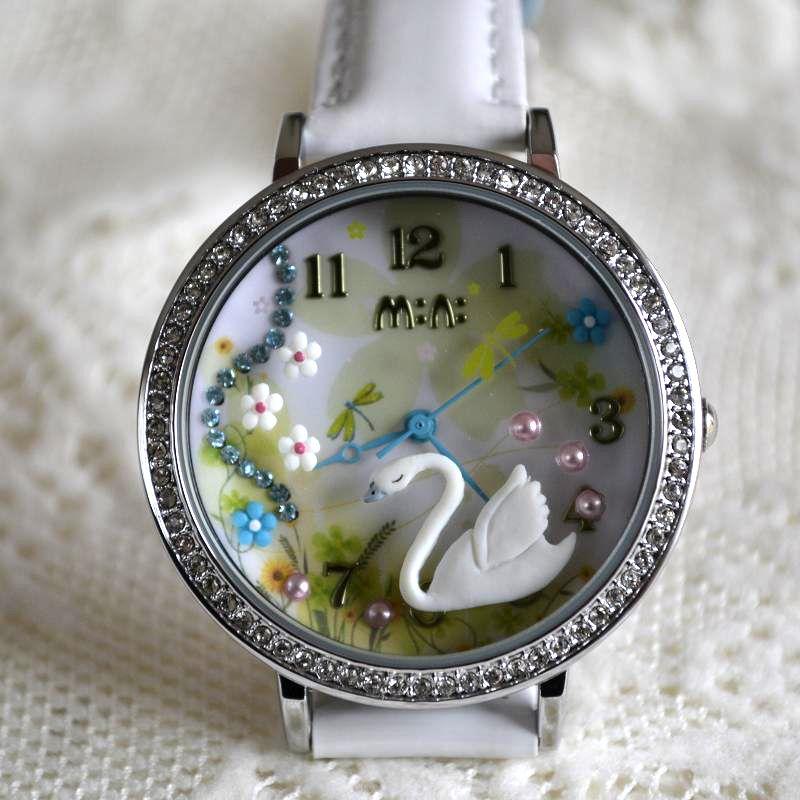 MINI hodinky - Labuť - bílé
