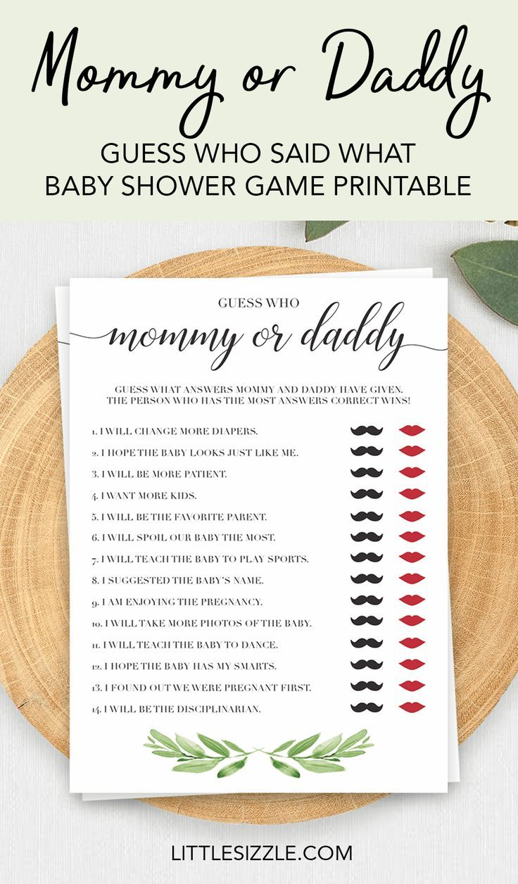 Mommy or Daddy baby shower game printable Guess Who by