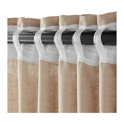 Ikea Aina Rideaux 2 Panneaux Beige Rideau Curtains