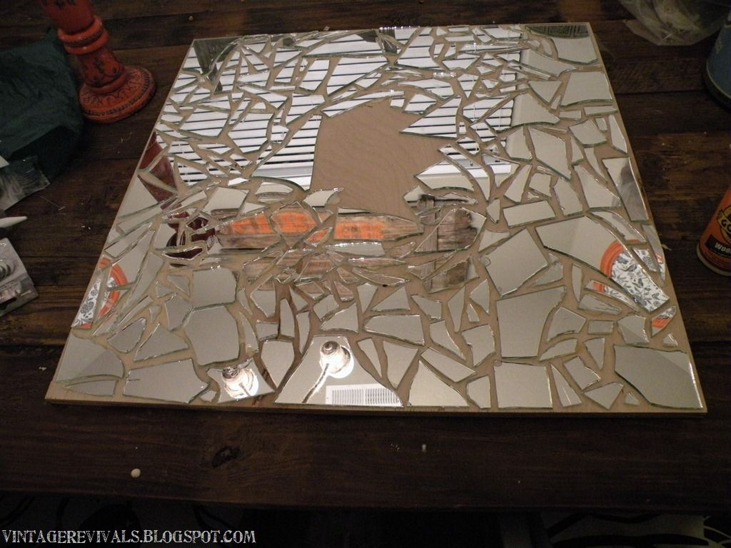 A broken mirror can be turned into a work for Broken glass art projects
