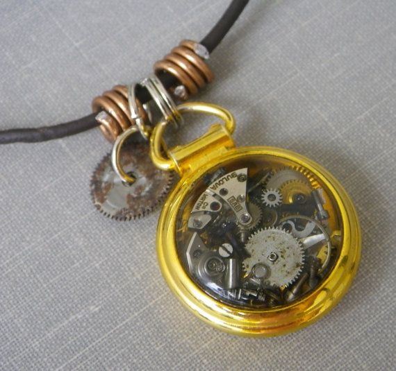 Steampunk Mini Pocket Watch and Gears Pendant by FragmentedTime, $35.00