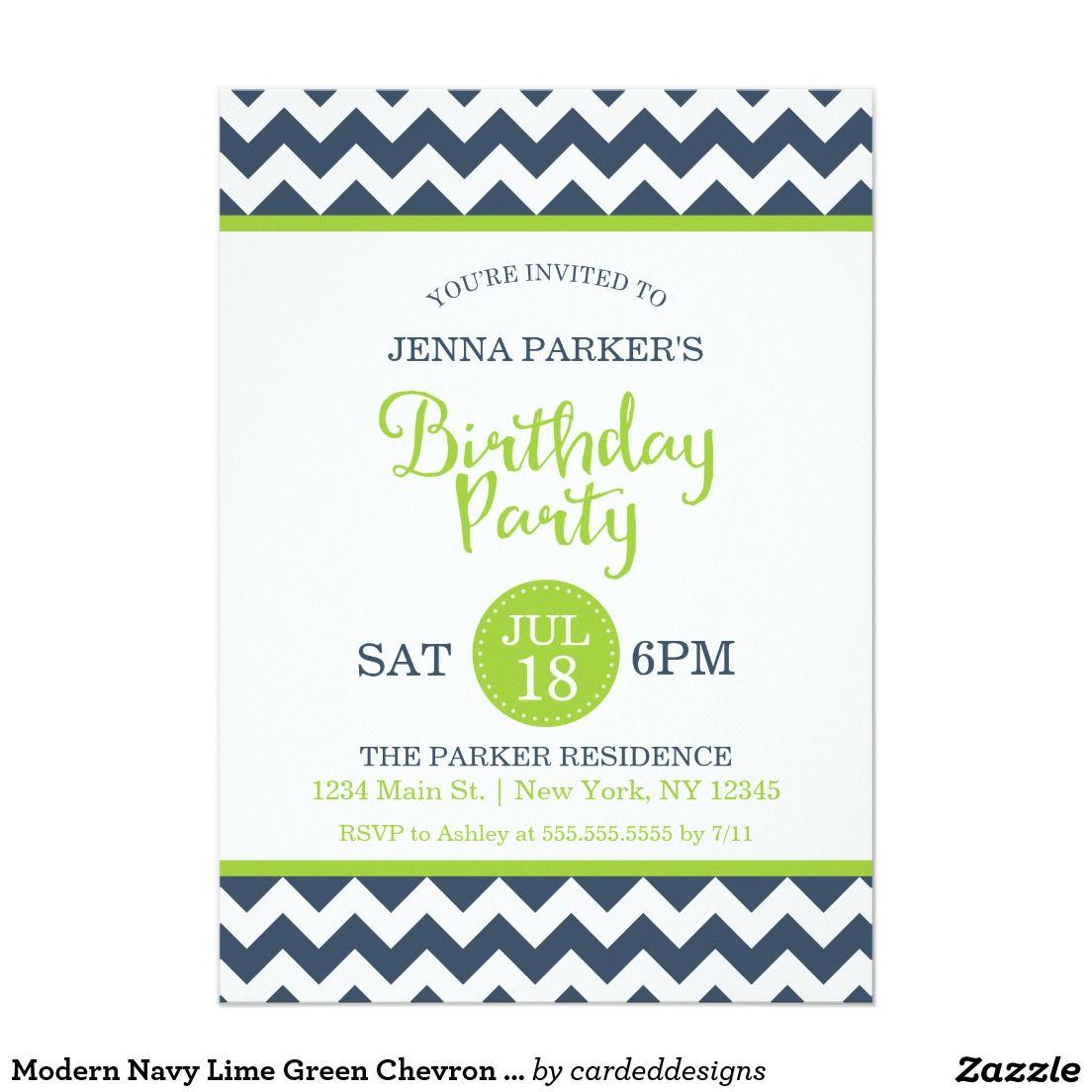 Modern Navy Lime Green Chevron Birthday Party 5x7 Paper Invitation Card