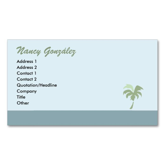 Palm tree business card blue business cards palm and business palm tree business card blue colourmoves