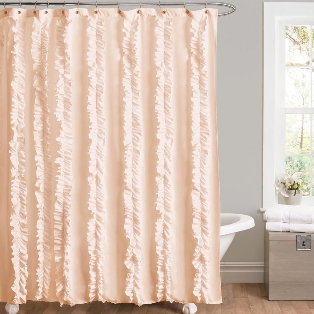 lush decor belle peach ruffled shower curtain by lush