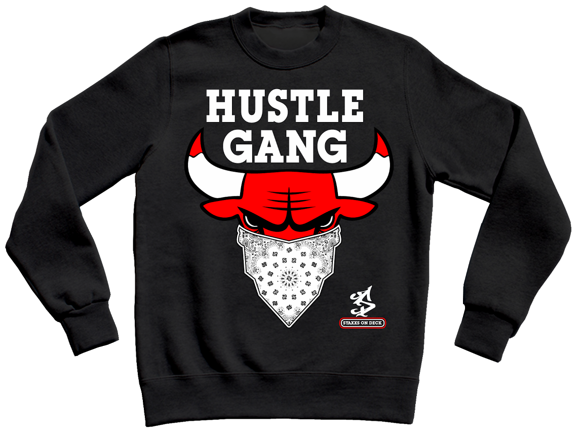 Hustle Gang Crewneck Bulls Edition Urban Gear Streetwear Outfit Swag Outfits [ 859 x 1145 Pixel ]