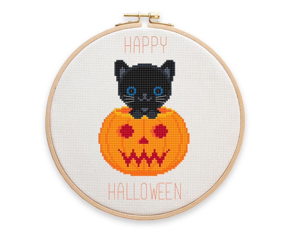 Halloween Cross Stitch Pattern, Halloween Orange Pumpkin with Cat ...