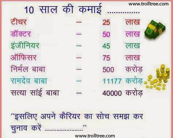 10 Years Income Of All Politician Doctors Engineers Baba Ramdev Hindi Quotes Funny Quotes Picture Quotes