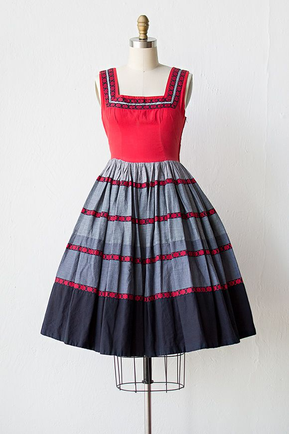vintage 1950s red grey dirndl dress | sewing inspiration ...