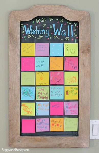 If you are celebrating New Year's Eve with kids, this activity is perfect for any age- create a wishing wall full of wishes for the new year. Both kids and adults can write or draw their wishes on little pieces of paper and display them right at home to welcome the new year!
