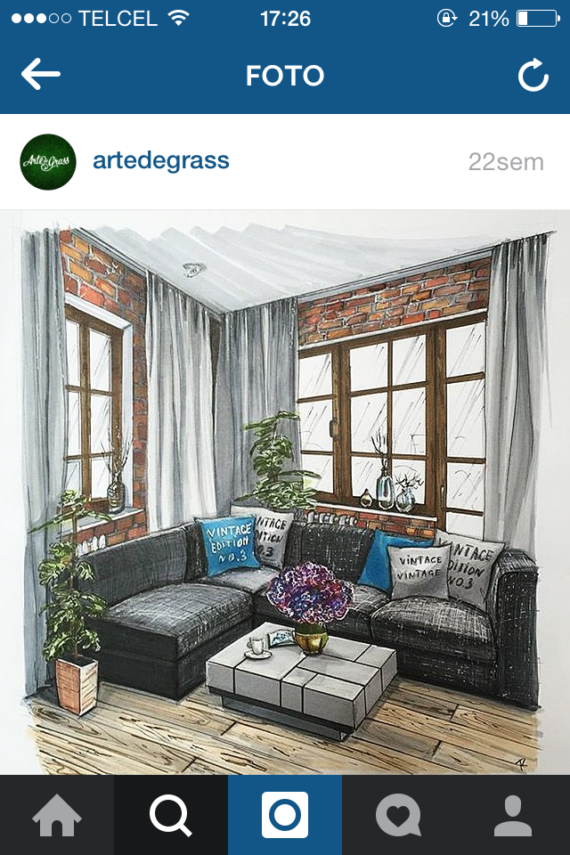 Living Room Sketch: Interior Design Living Room Image By Ttong Tong On โปรเจค