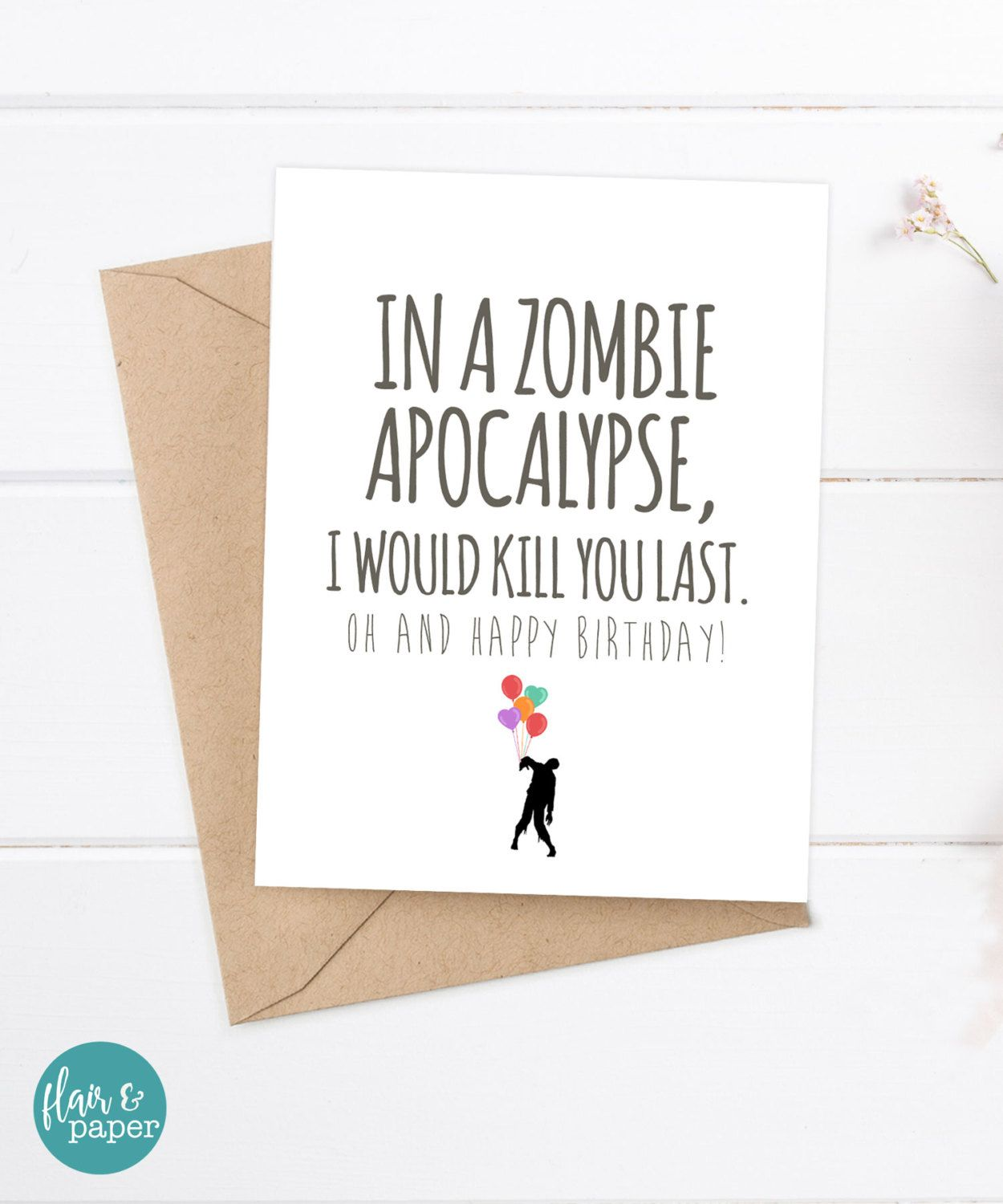 Pin by heyar padron on funny birthday cards pinterest cards and boyfriend card funny birthday card zombie card snarky greeting card zombie apocalypse birthday card by flairandpaper on etsy bookmarktalkfo Choice Image