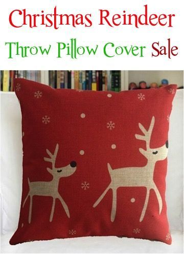 Christmas Reindeer Throw Pillow Cover Sale: $3.64 + FREE Shipping!!