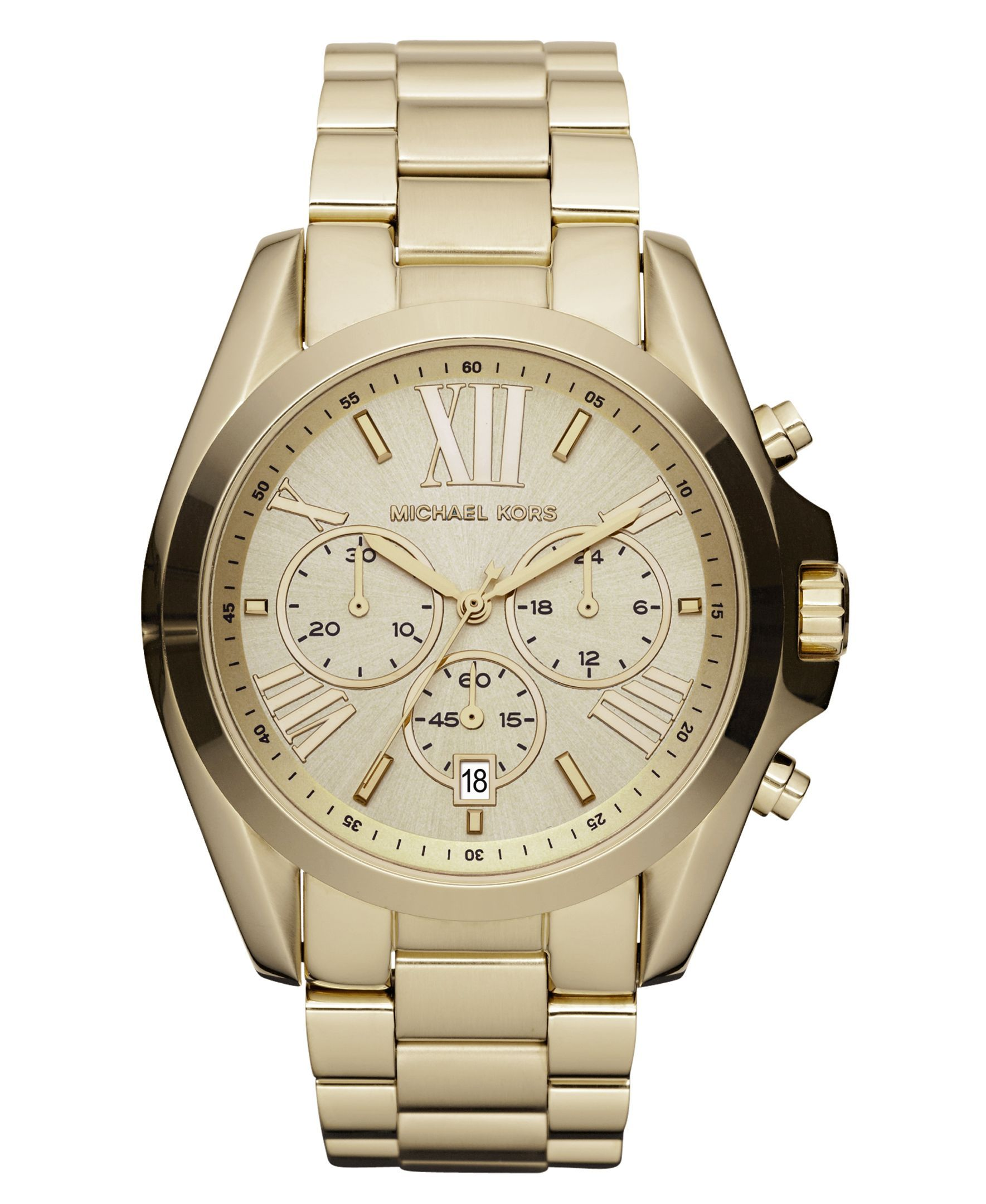 cfeff31769f2 Michael Kors Women s Chronograph Bradshaw Gold-Tone Stainless Steel  Bracelet Watch 43mm MK5605