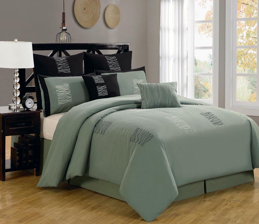 8 Piece Queen Arena Green Comforter Set Brown Bed Sets Green Comforter Sets Brown Comforter Sets