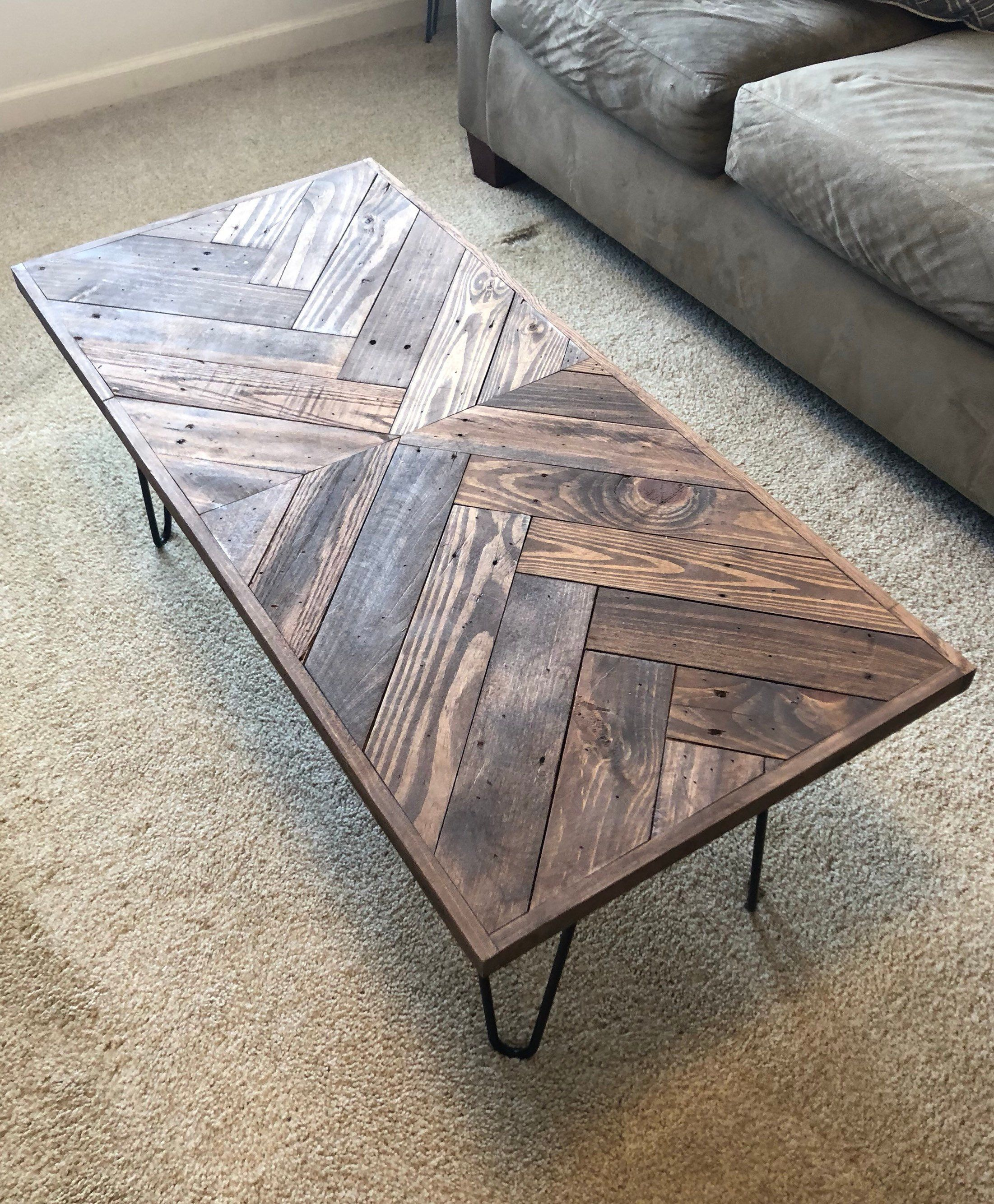 Herringbone Coffee Table With Hairpin Legs Coffee Tables Etsy