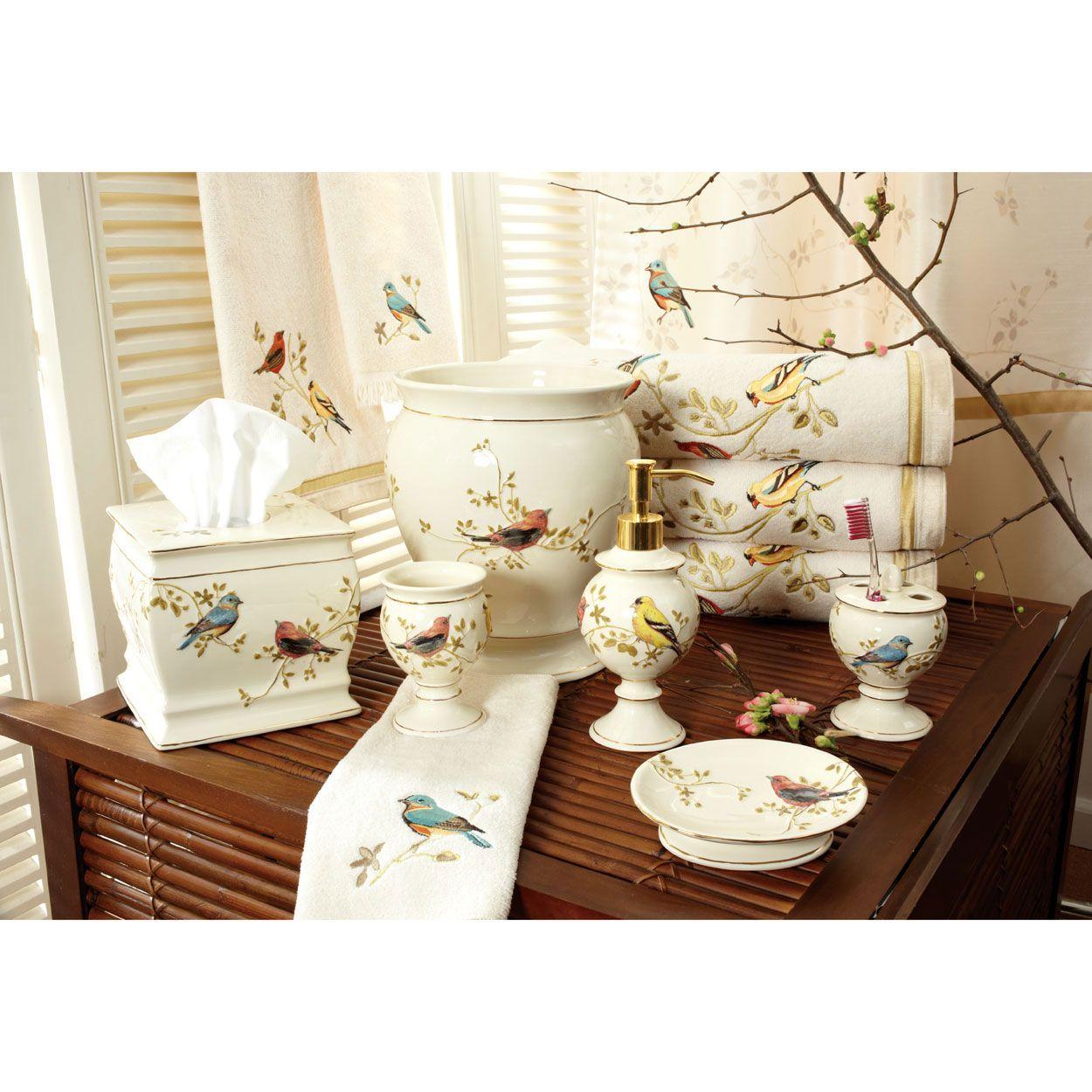Bird decor bathroom - Gilded Birds Bath Accessories