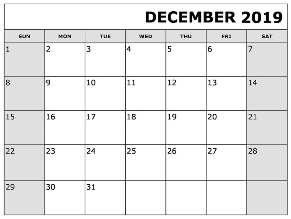 Monthly December 2019 Calendar Printable Printable