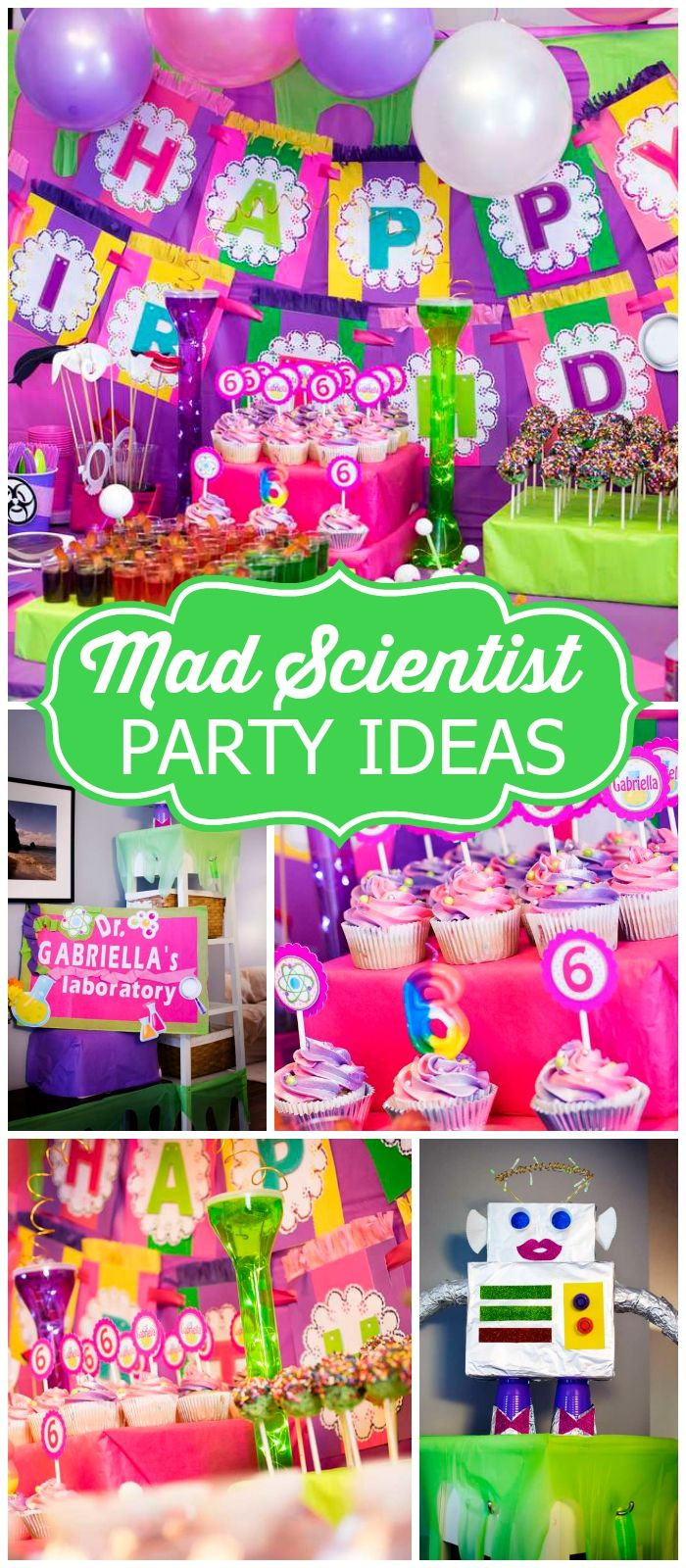 Pink Purple Green Birthday Mad Scientist Birthday Party