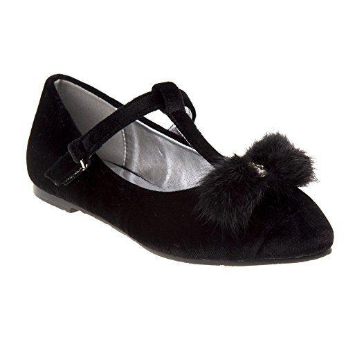 fd90ca9fbea4 BNanette Lepore Girls Black Velvet Faux Fur Bow T-Bar Dress Shoes 11-4 Kids