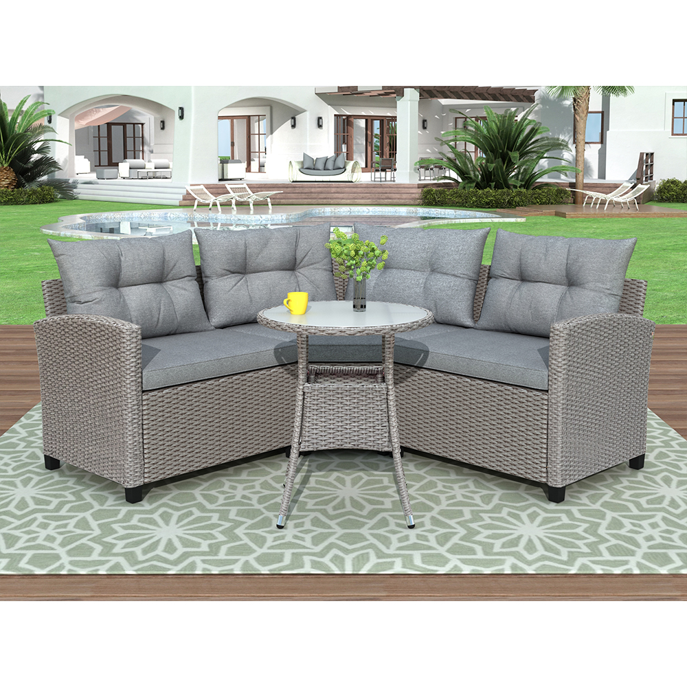 4 Piece Rattan Patio Furniture Sets Clearance Wicker Bistro Patio Set With Glass Coffee Table Outdoor Cushioned Pe Rattan Wicker Sectional Sofa Set Dining Ta In 2020 Furniture Sofa Set Patio Furniture
